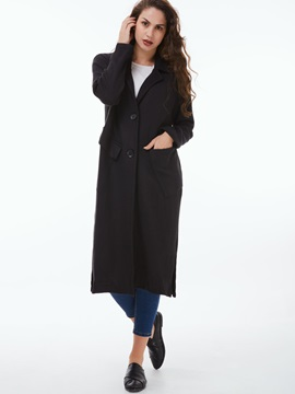 Stylish Single-Breasted Long Slim Overcoat
