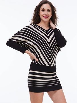 Vertical Striped Batwing Sleeve V-Neck Bodycon Dress
