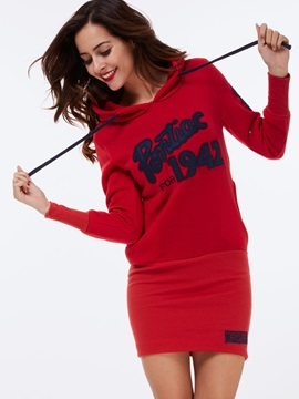 Stylish Letter Printed Long Hoodie