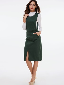 Round Neck Sleeveless Pocket Bodycon Dress