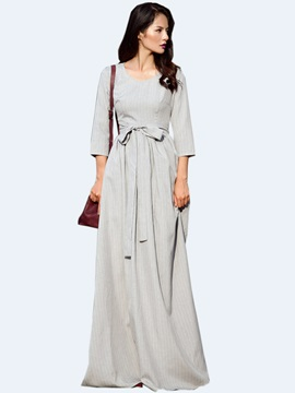 Solid Nine Points Sleeve High-Waist Maxi Dress