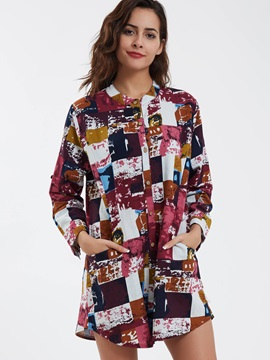 Stylish Color Block Long Shirt