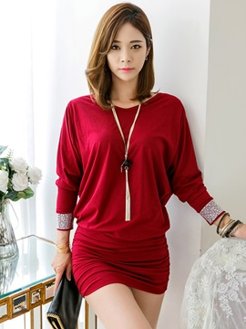 Three-Quarter Sleeve Batwing Sleeve Pleated Bodycon Dress