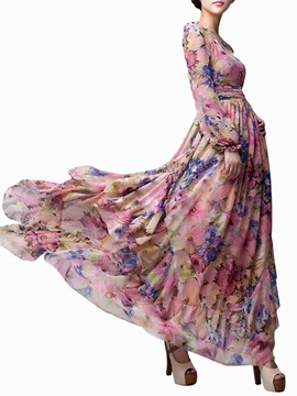 Lantern Sleeve Floral Print Expansion Maxi Dress