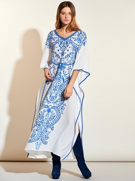 Geometric Floral Nine Points Sleeve Maxi Dress