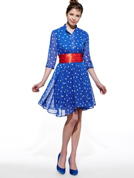 Single-Breasted Polka Dots Three-Quarter Sleeve Day Dress