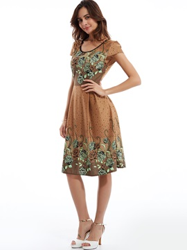 Round Neck Flower Print Short Sleeve Day Dress