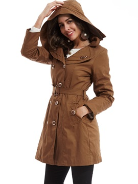 Stylish Plain Double-Breasted Hooded Trench Coat