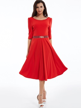 Plain Round Neck Expansion Skater Dress