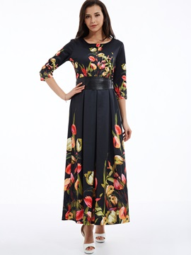 Round Neck Flower Print Empire Waist Maxi Dress