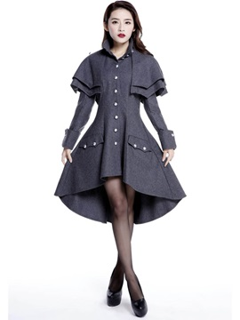 Stylish Button Hemline Trench Coat