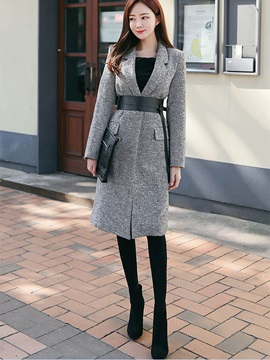 Stylish Slim Lace-Up Overcoat