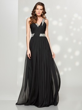 Concise A-Line V-Neck Pleats Beaded Sweep Train Prom Dress & simple Faster Shipping Sale