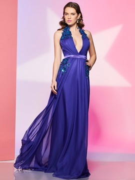 Modern A-Line Halter Cap Sleeves Appliques Sequins Prom Dress & modest Faster Shipping Sale