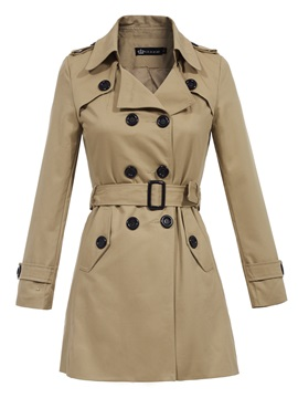 Stylish Lapel Double-Breasted Plain Trench Coat
