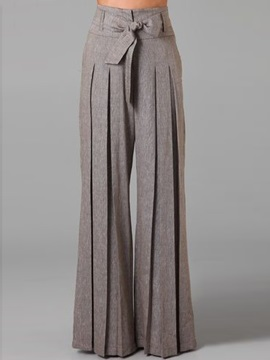 Low Waisted Wide Leg Pure Color Women's Pants