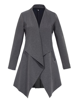 Stylish Plain Patchwork Asymmetric Trench Coat