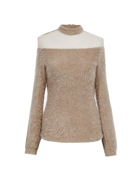Stylish Turtleneck Mesh Patchwork Knitwear