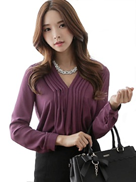 Stylish V-Neck Pleated Chiffon Blouse