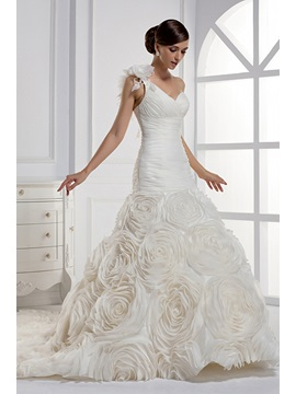 Dramatic Floor-length Mermaid One-shoulder Chapel Train Wedding Dress & colored Faster Shipping Sale