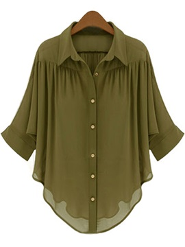 Chiffon Irregular Pleated Blouse