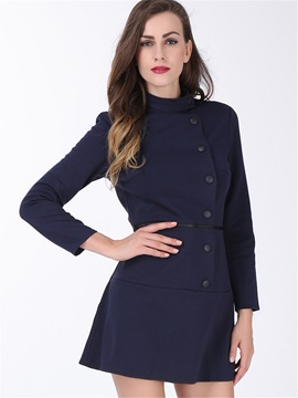 Solid Color Sleeve OL Slim Collar Day Dress