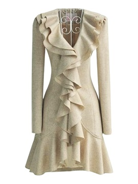 Stylish  Ruffle  Decoration  Slim  Trench  Coat