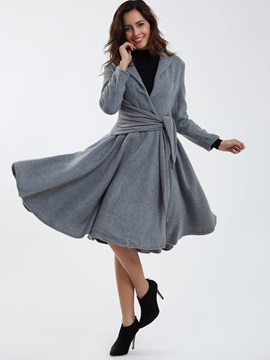 Chic Bowknot Belt Big Hem Trench Coat