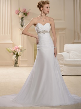 Elegant Strapless Sweetheart A-Line White Wedding Dress