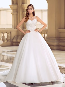 Eye-catching Button Sheer back Beaded Organza Ball Gown Wedding Dress