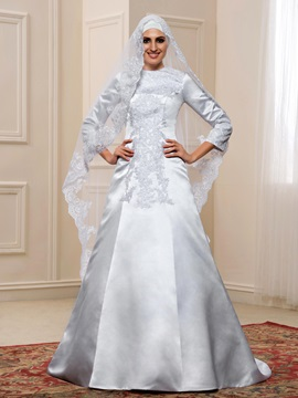 Budget Lace Appliques White Satin Long Sleeve Muslim Wedding Dress