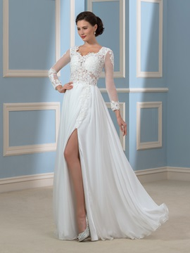 Embroidery Lace Split-Front Long Sleeve Chiffon Beach Wedding Dress