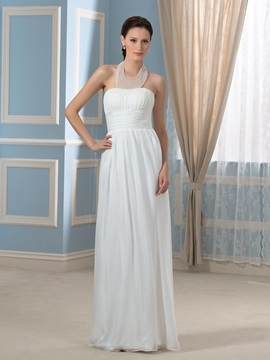 Halter Neck beaded 30D Chiffon A-Line Floor-Length Pregnant Wedding Dress