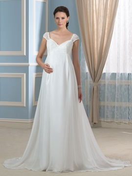 Lace Cap Sleeve Empire Chiffon Pregnant Maternity Wedding Dress