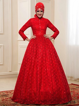 Charming High Neck Beaded Quality Lace Red Muslim Wedding Dress