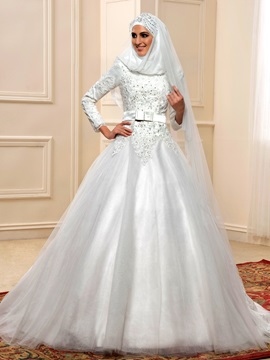 Sequin Beaded Lace High Neck Long Sleeve Muslim Wedding Dress