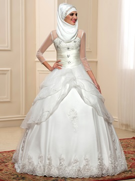 Ruched Beaded Bodice Sheer Long Sleeve Indian Wedding Dress