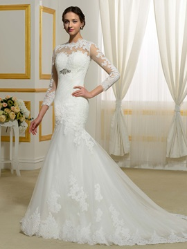 Beautiful Jewel Long Sleeves Mermaid Wedding Dress