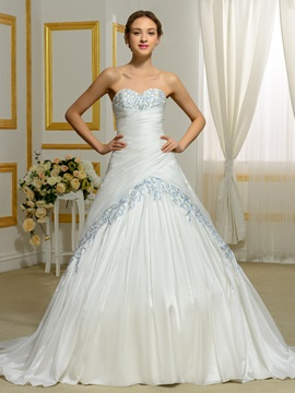 Sweetheart Beading Embroidery Color Wedding Dress