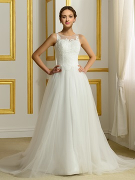Lace Appliques Button Zip-up Ivory Tulle Wedding Dress