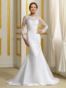 Long Sleeve White Satin Mermaid Wedding Dress