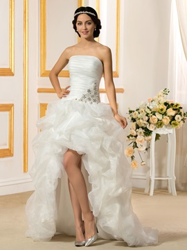 Strapless High Low Ruffles Organza Wedding Dress
