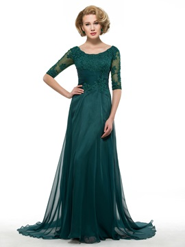 Scoop Neck Half Sleeve Dark Green Chiffon Mother Dress
