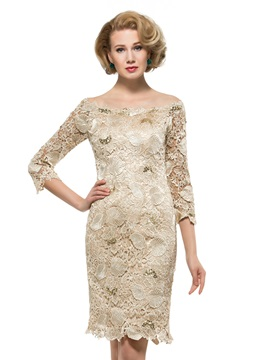 Off the Shoulder 3/4 Sleeves Knee Length Lace Mother Dress