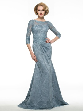 Bateau Neck Half Sleeve Mermaid Lace Mother of the Bride Dress
