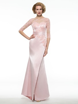 Fancy Illusion Neck Half Sleeve Mermaid Mother of the Bride Dress