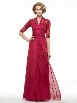 Lace Appliques V-Neck Half Sleeve Burgundy Mother of Bride Dress