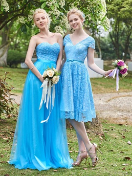 Simple Sweetheart Lace Long Bridesmaid Dress