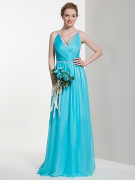 Elegant Spaghetti Straps Floor Length Bridesmaid Dress