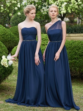 Beaded One Shoulder  Long Bridesmaid Dress